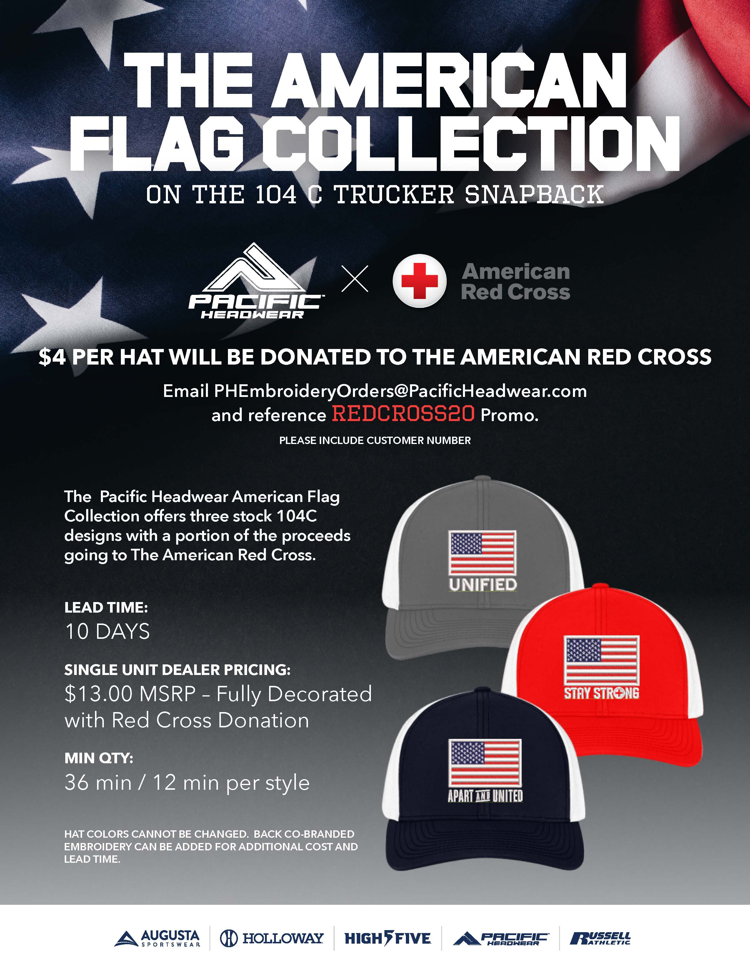 American Red Cross and Pacific Headwear team up to create the American Flag Collection.