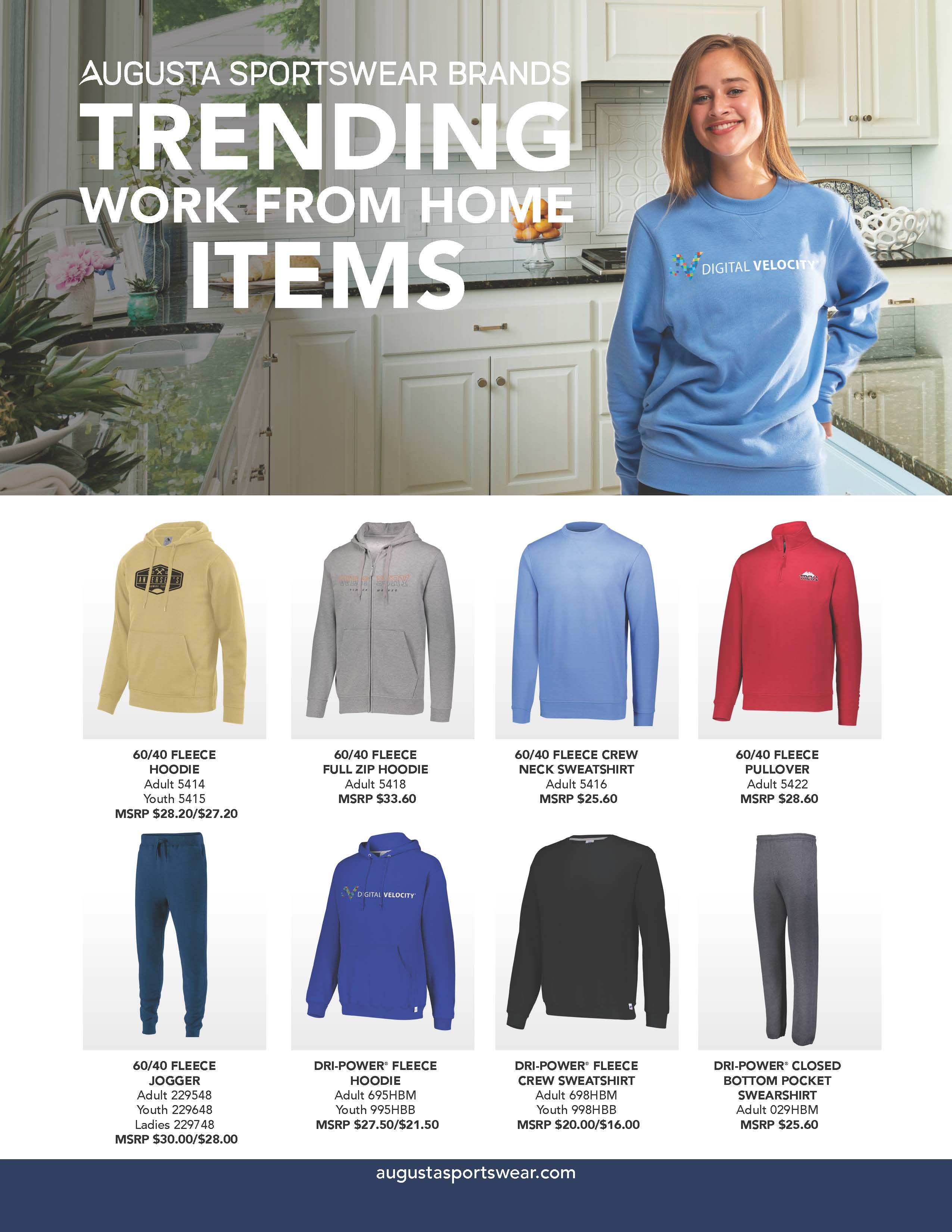Trending stay at home and work from home products flyer