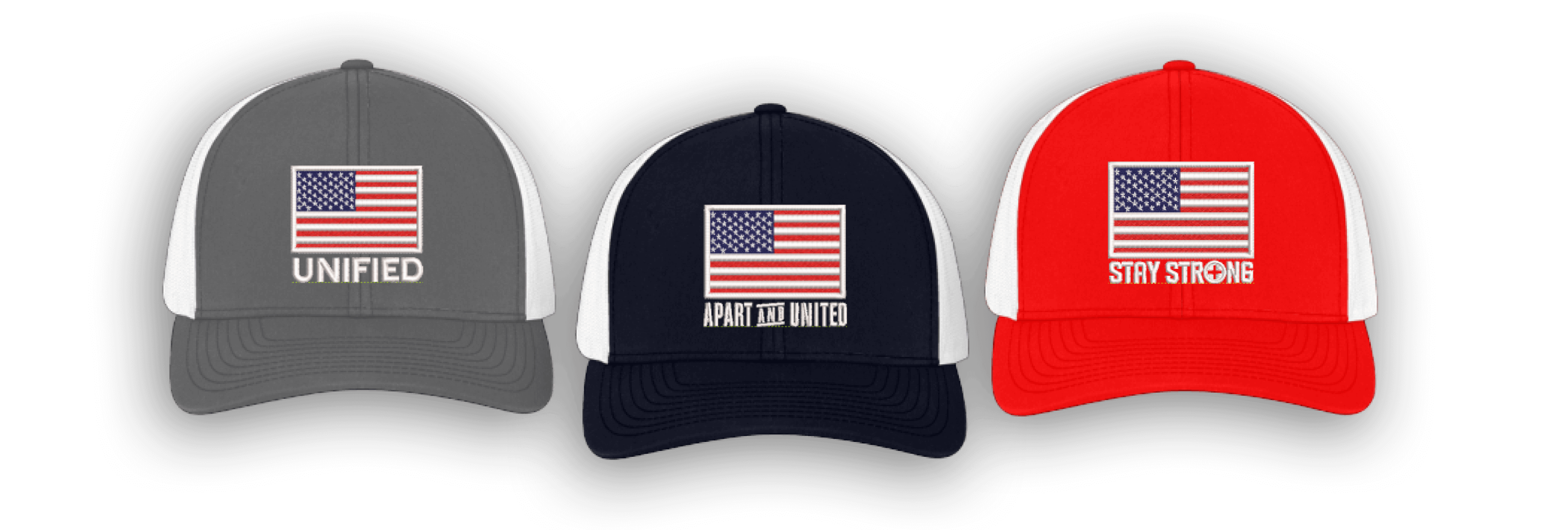 American Red Cross and Pacific Headwear team up for the American Flag Collection hats.