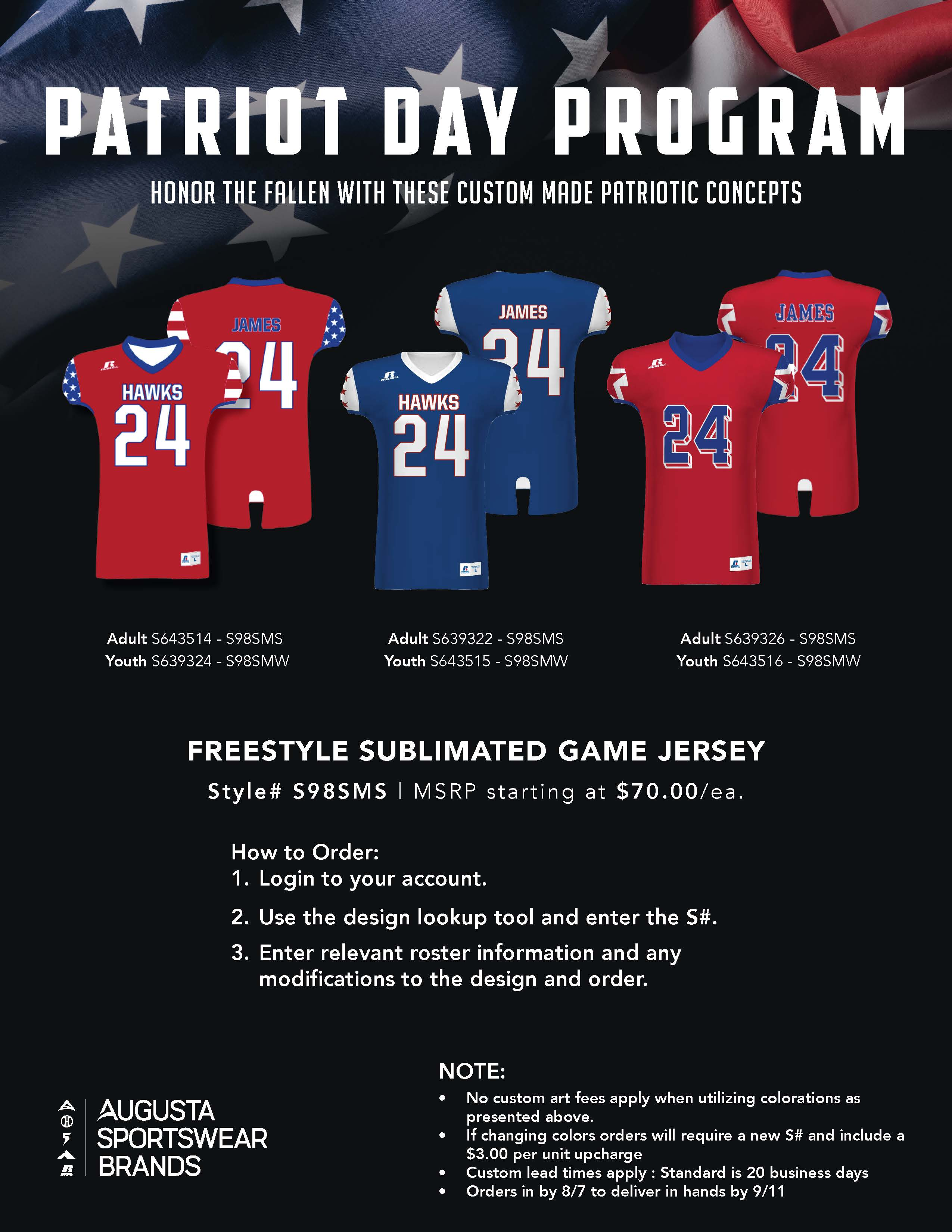 View program flyer for Patriot Day Jerseys