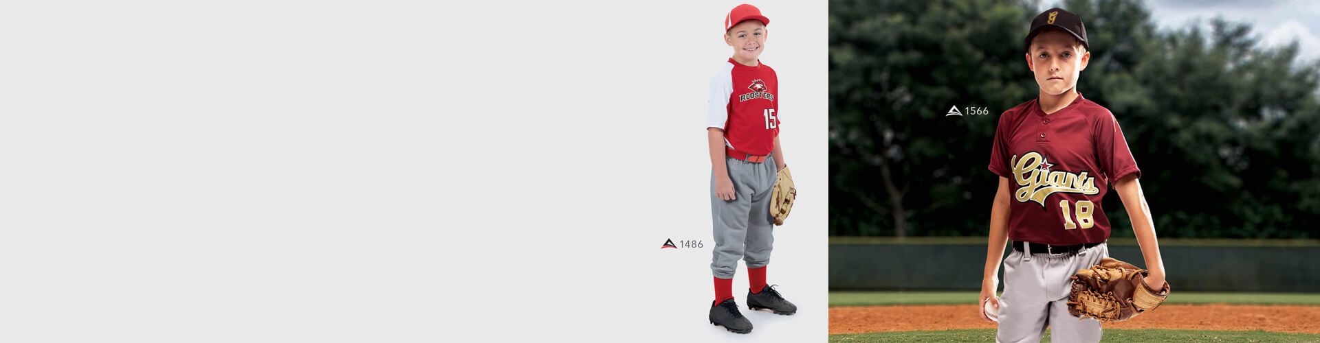 Youth baseball jerseys, hats, pants and uniforms
