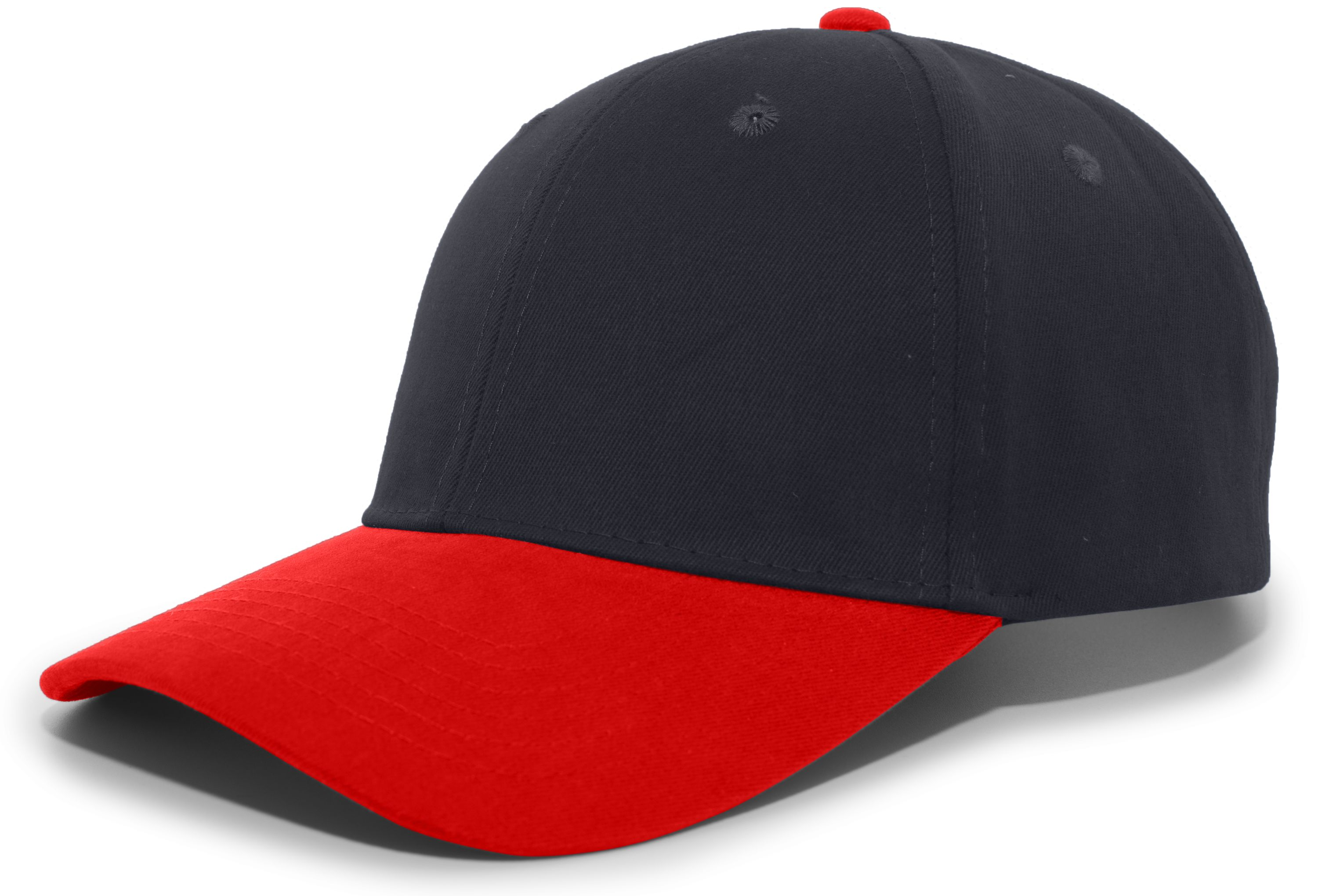 Brushed Cotton Twill Hook-And-Loop Adjustable Cap - NAVY/RED