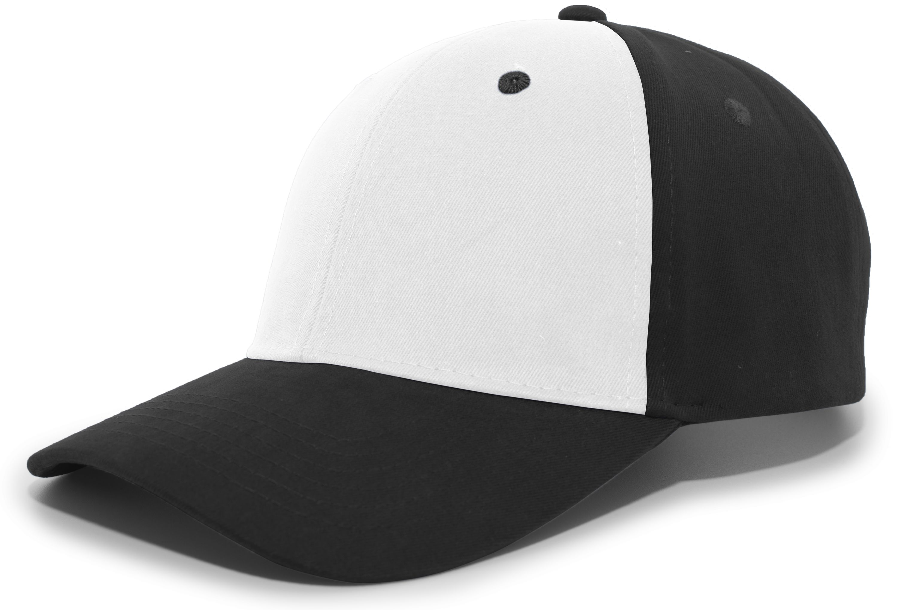 Brushed Cotton Twill Hook-And-Loop Adjustable Cap - WHITE/BLACK/BLACK