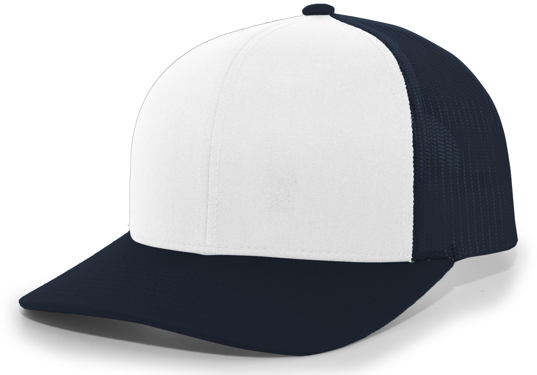 Trucker Snapback Cap - WHITE/NAVY