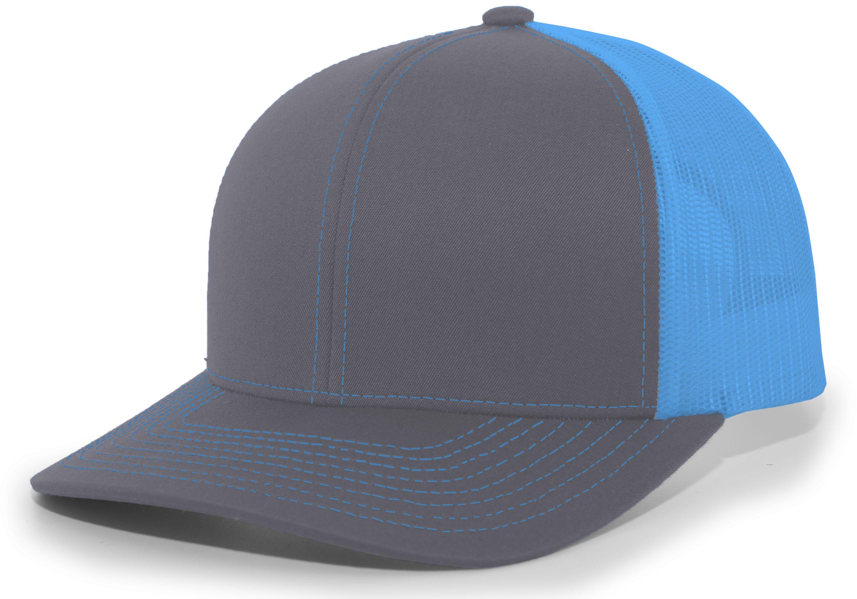 Trucker Snapback Cap - GRAPHITE/NEON BLUE/GRAPHITE