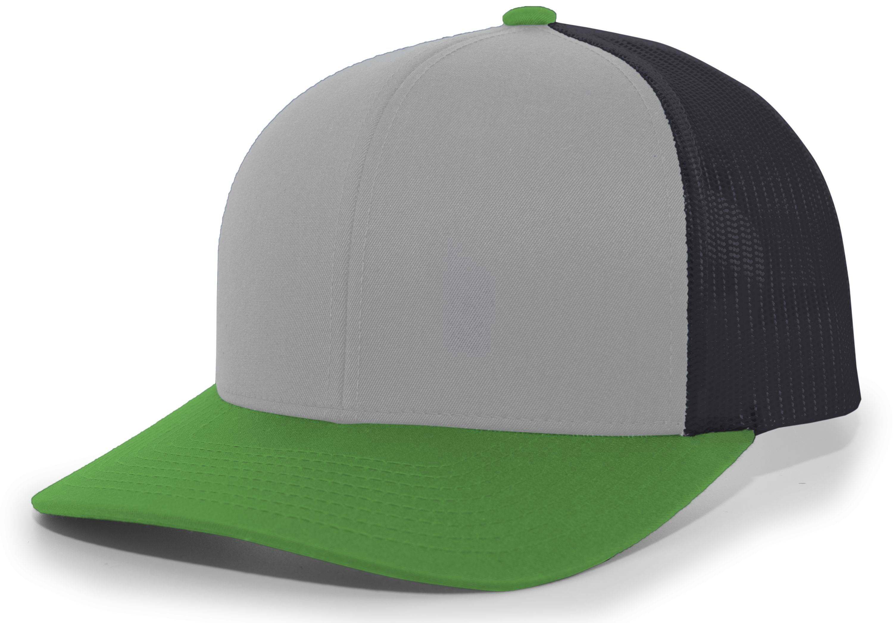 Trucker Snapback Cap - HEATHER GREY/LT CHARCOAL/GREEN