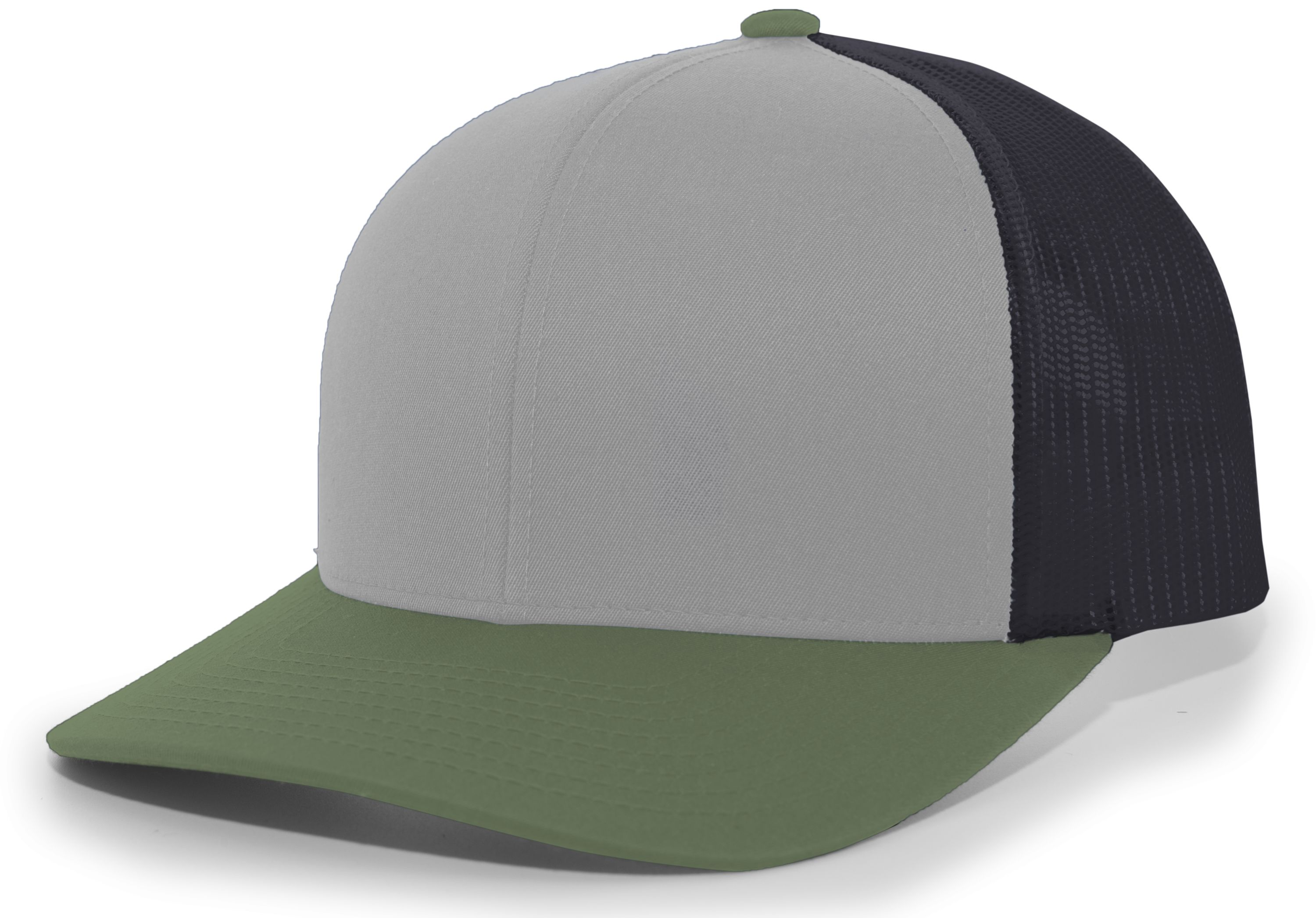 Trucker Snapback Cap - HEATHER GREY/LT CHARCOAL/MOSS GREEN
