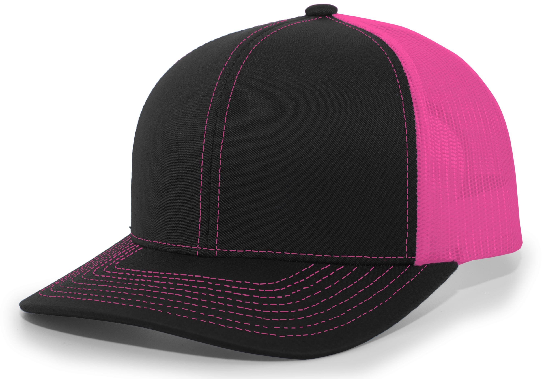 Trucker Snapback Cap - BLACK/PINK/BLACK