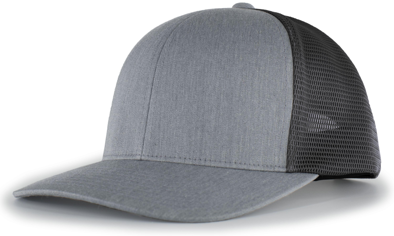 Trucker Flexfitâ® Snapback Cap - HEATHER GREY/LT CHARCOAL/HEATHER GREY