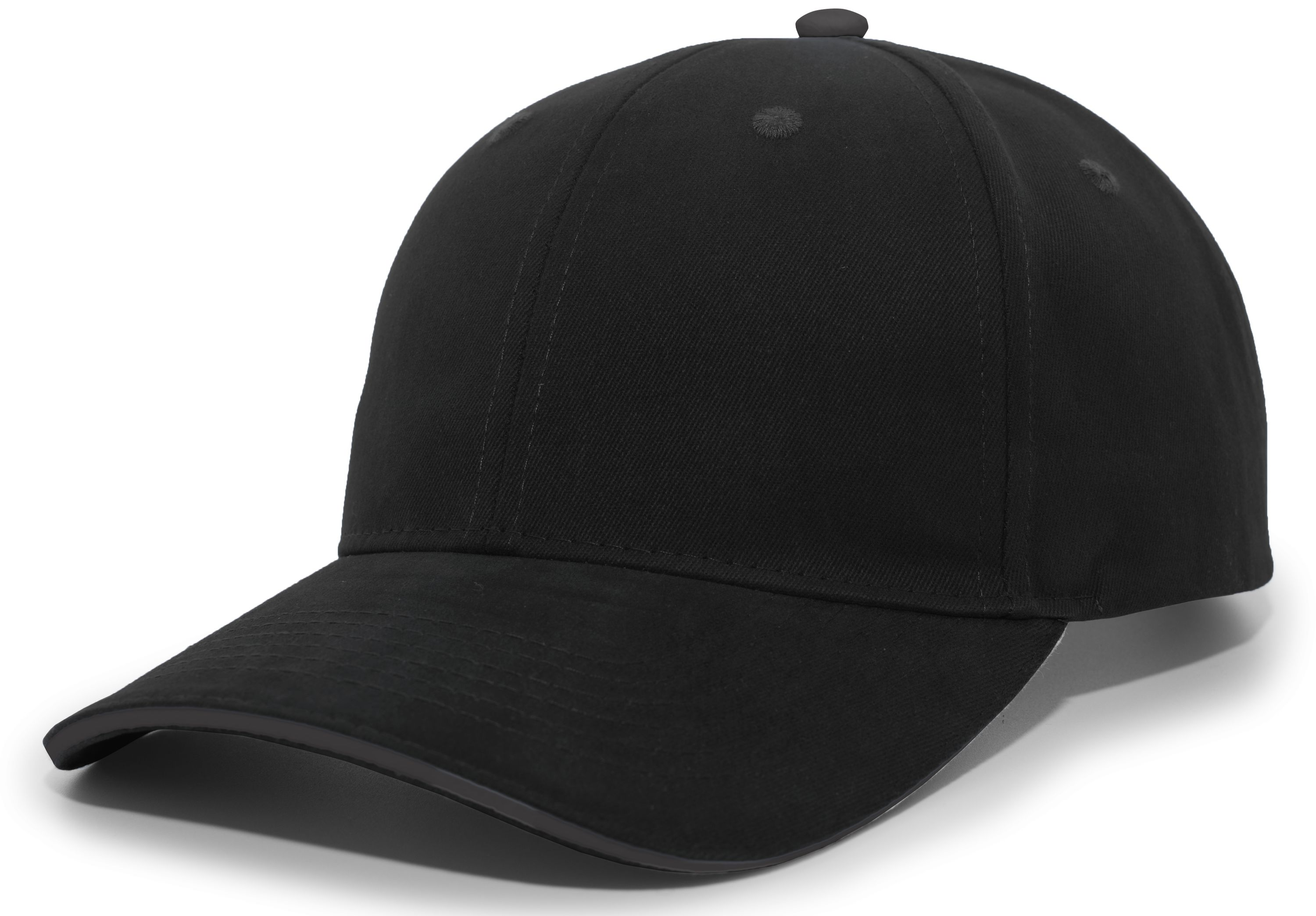 Brushed Twill Cap With Sandwich Bill - BLACK/CHARCOAL