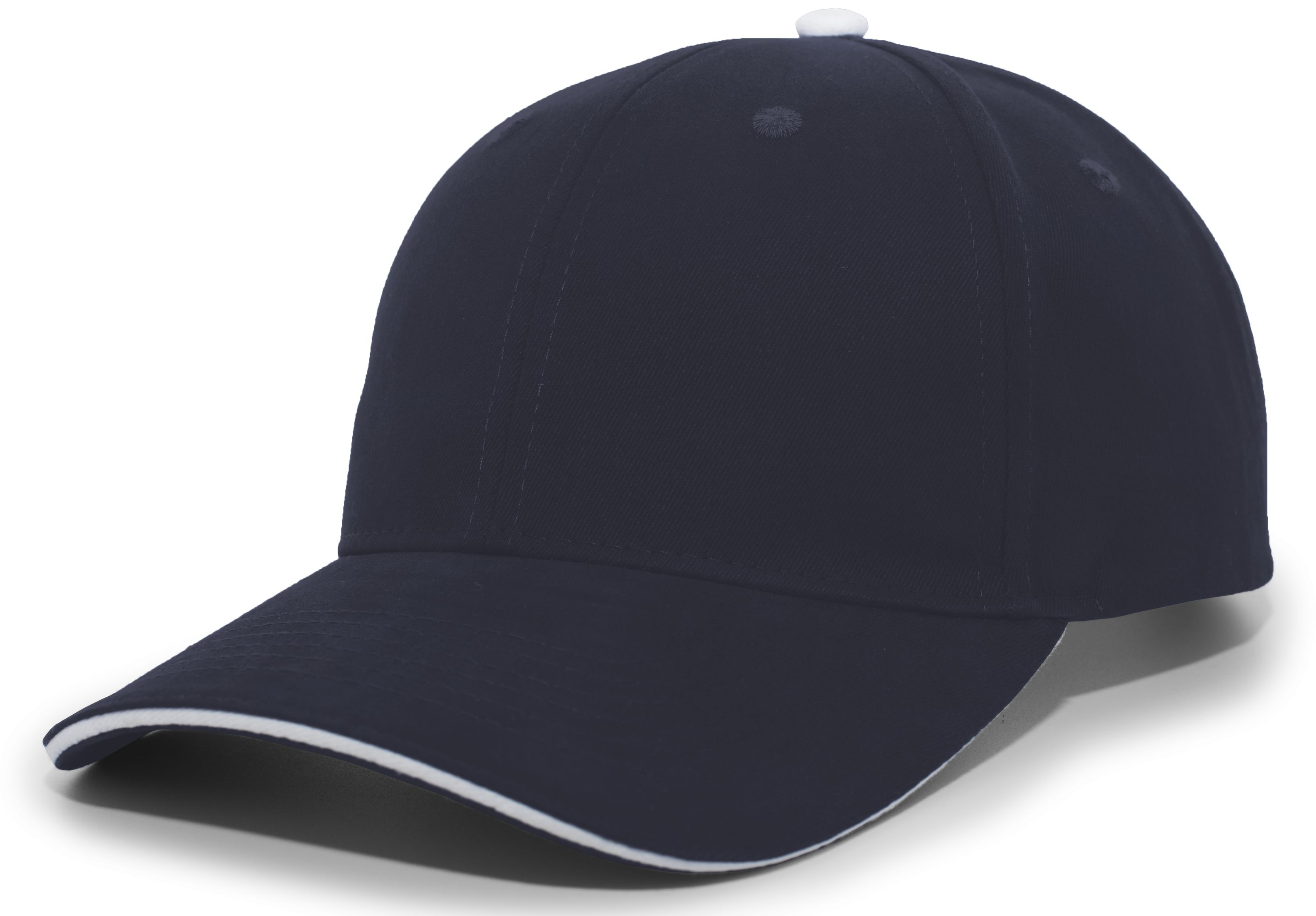 Brushed Twill Cap With Sandwich Bill - NAVY/WHITE