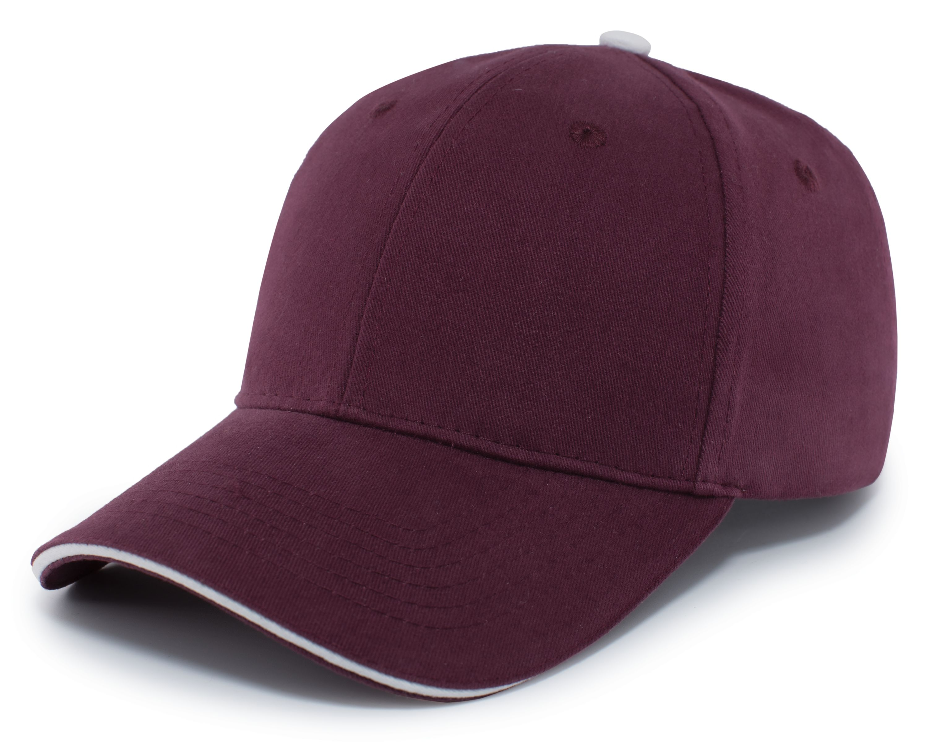 Brushed Twill Cap With Sandwich Bill - MAROON/WHITE