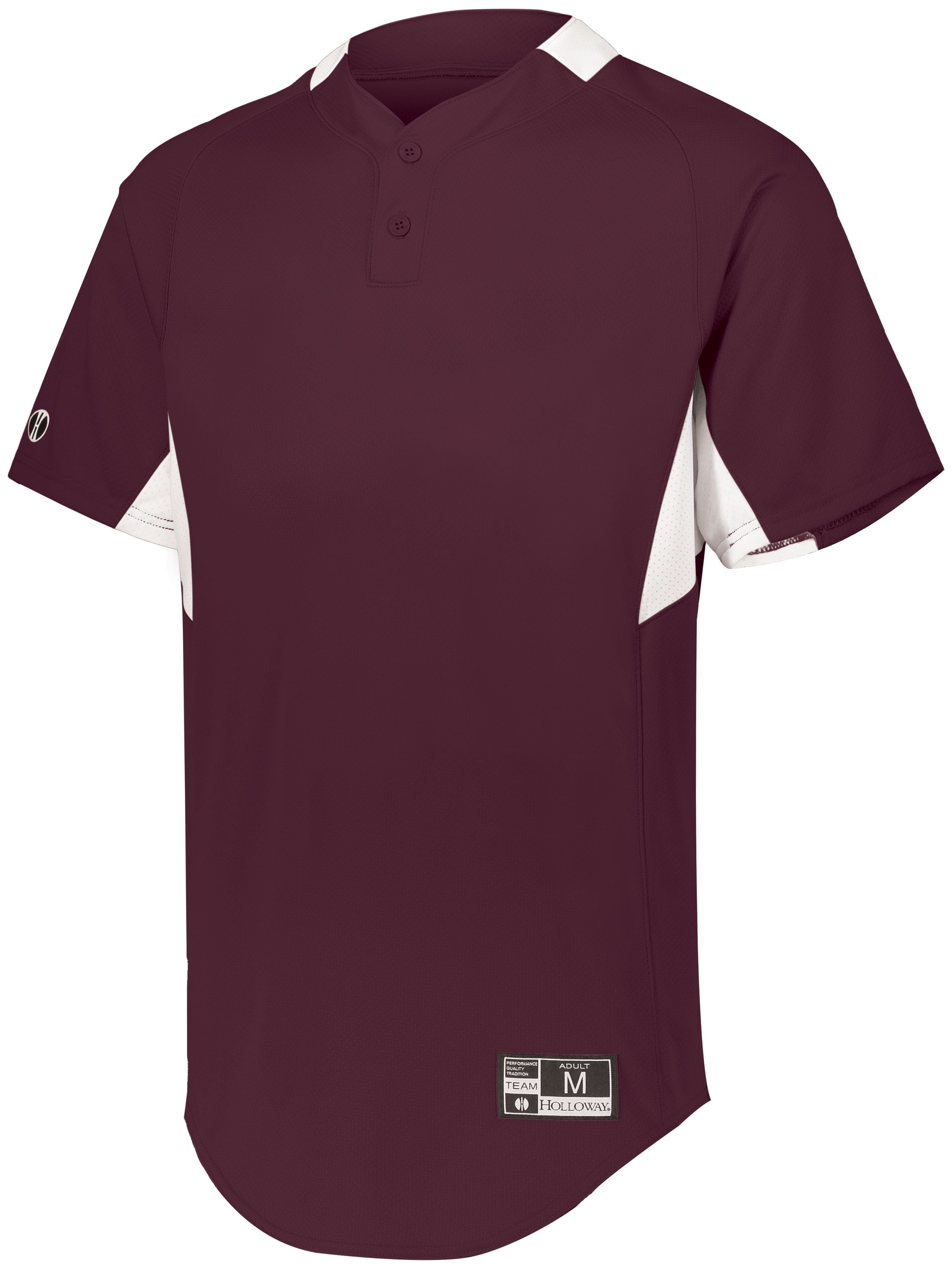Game7 Two-Button Baseball Jersey - MAROON/WHITE