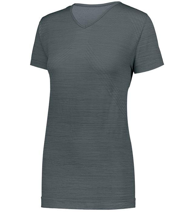 Ladies Striated Shirt Short Sleeve