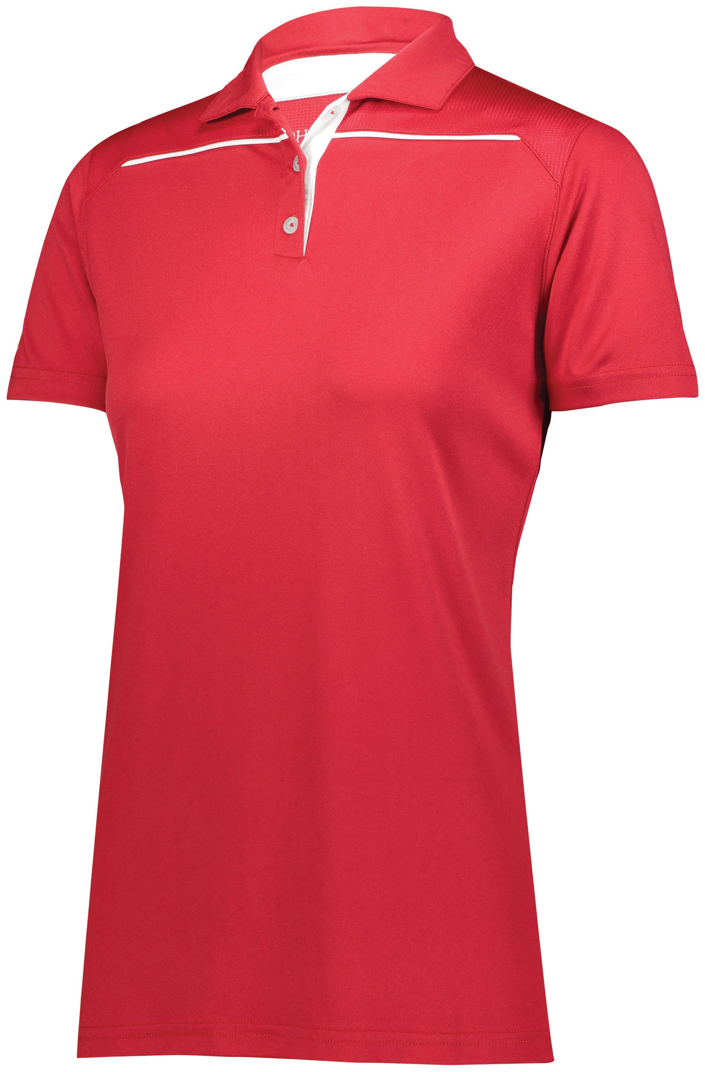 Ladies Defer Polo  - Scarlet/white
