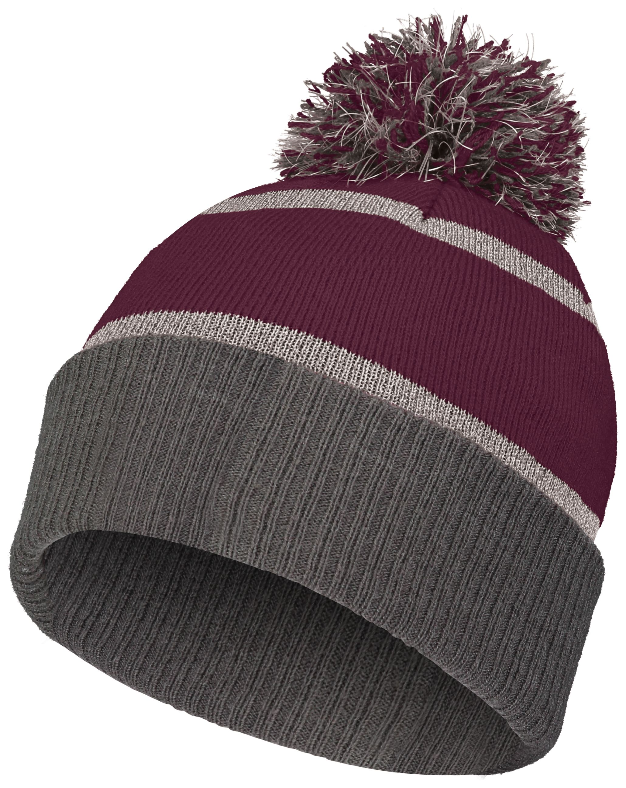Reflective Beanie - MAROON/CARBON