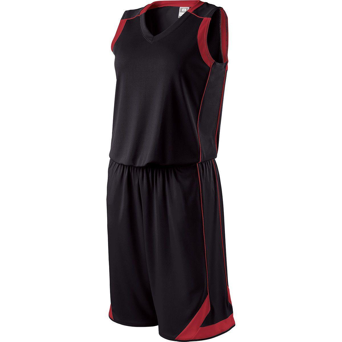 Ladies Carthage Basketball Shorts - BLACK/SCARLET