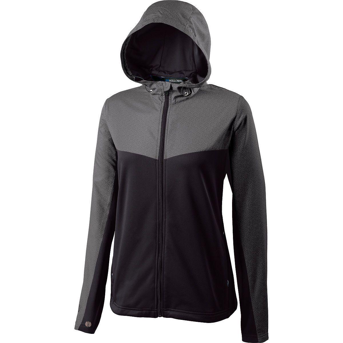 Ladies Crossover Jacket - GREY PRINT/BLACK