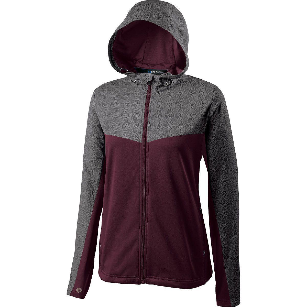 Ladies Crossover Jacket - GREY PRINT/MAROON