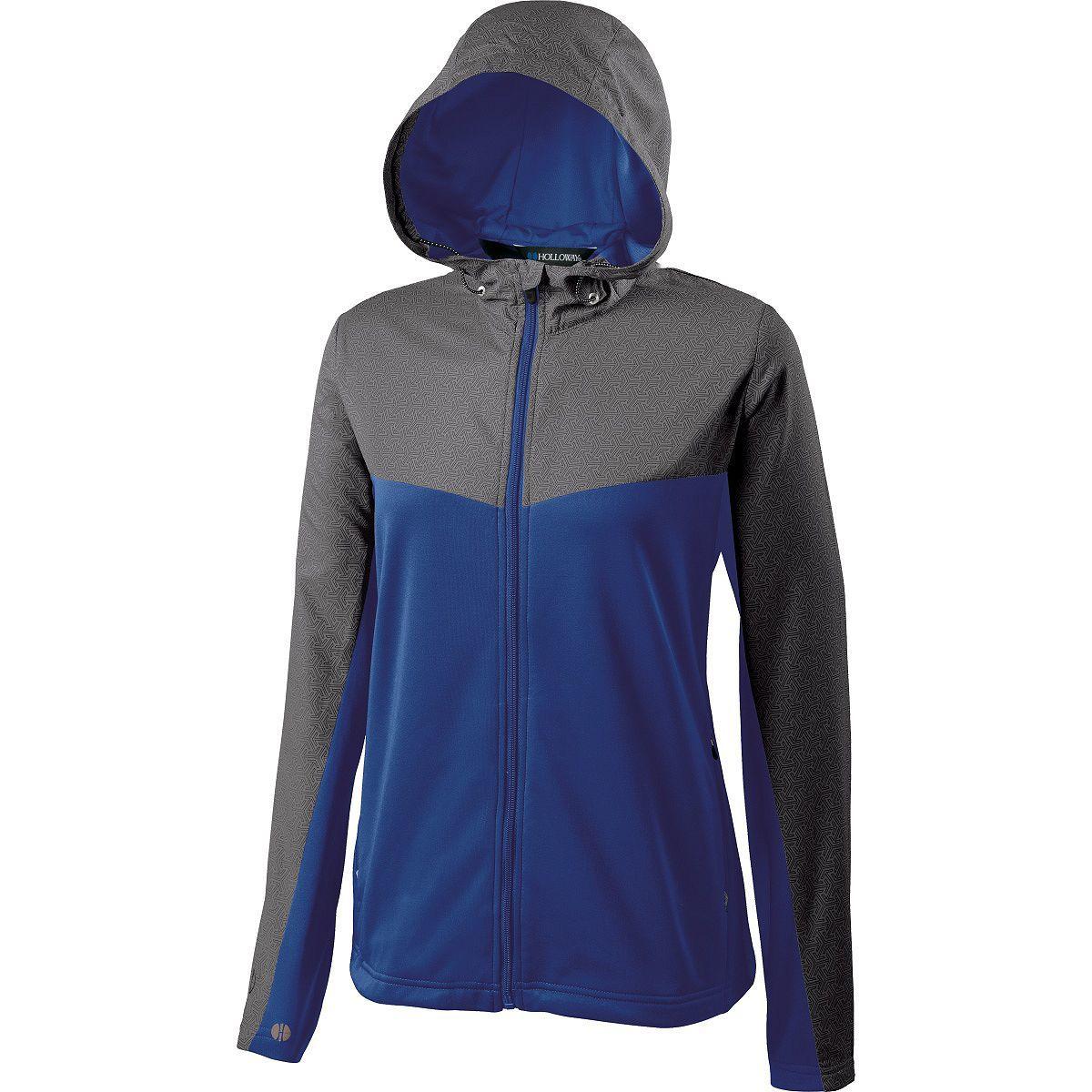 Ladies Crossover Jacket - GREY PRINT/ROYAL