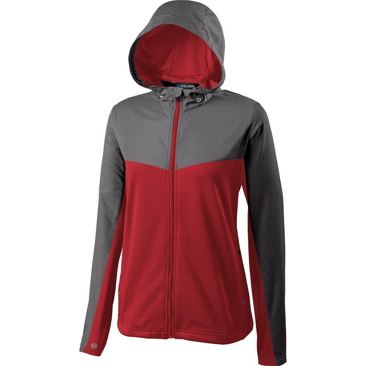 Ladies Crossover Jacket - GREY PRINT/SCARLET