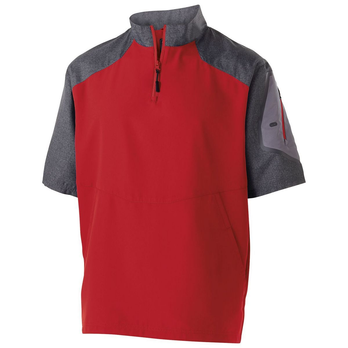 Youth Raider Short Sleeve Pullover  - Carbon Print/scarlet