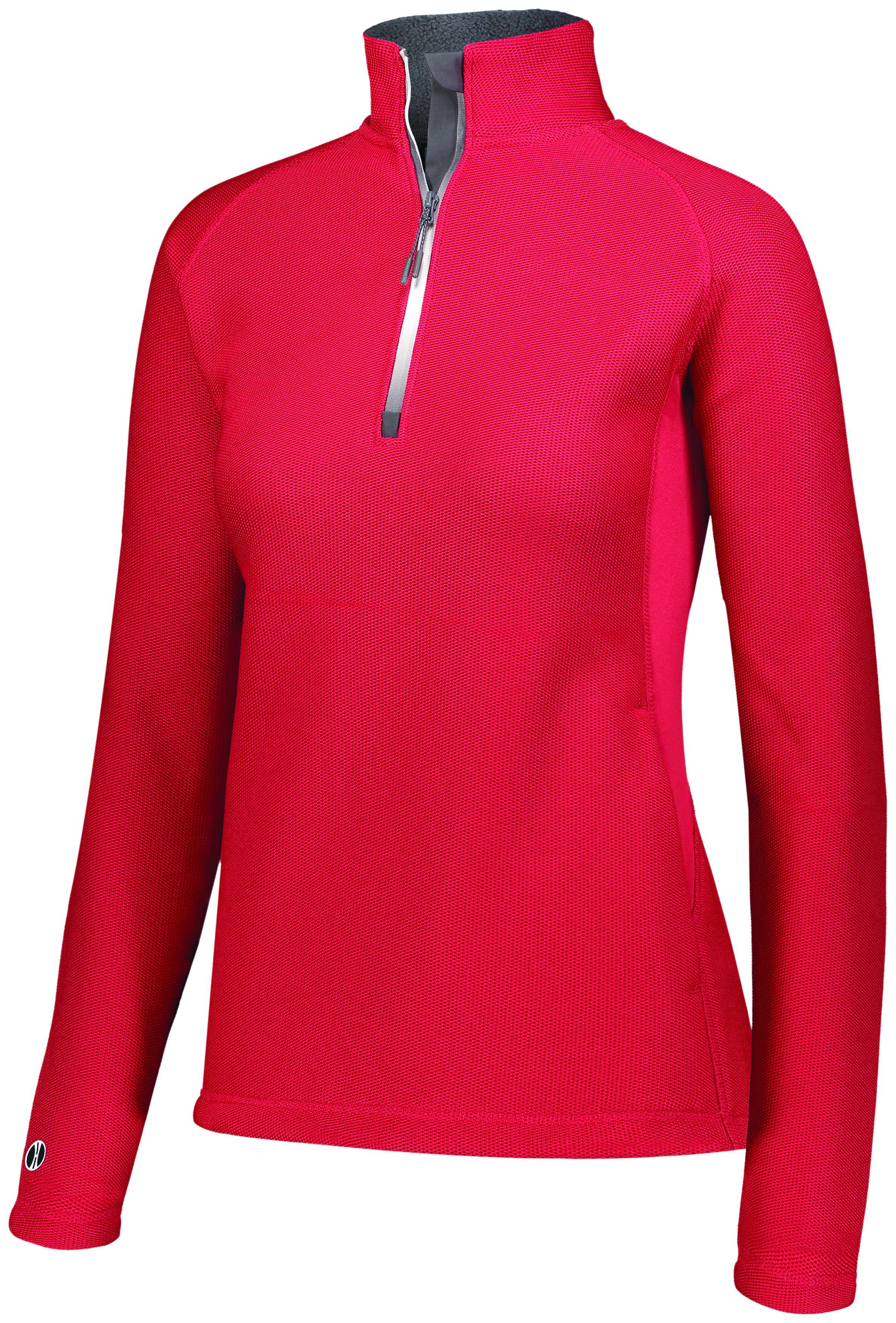 Ladies Invert 1/2 Zip Pullover - SCARLET
