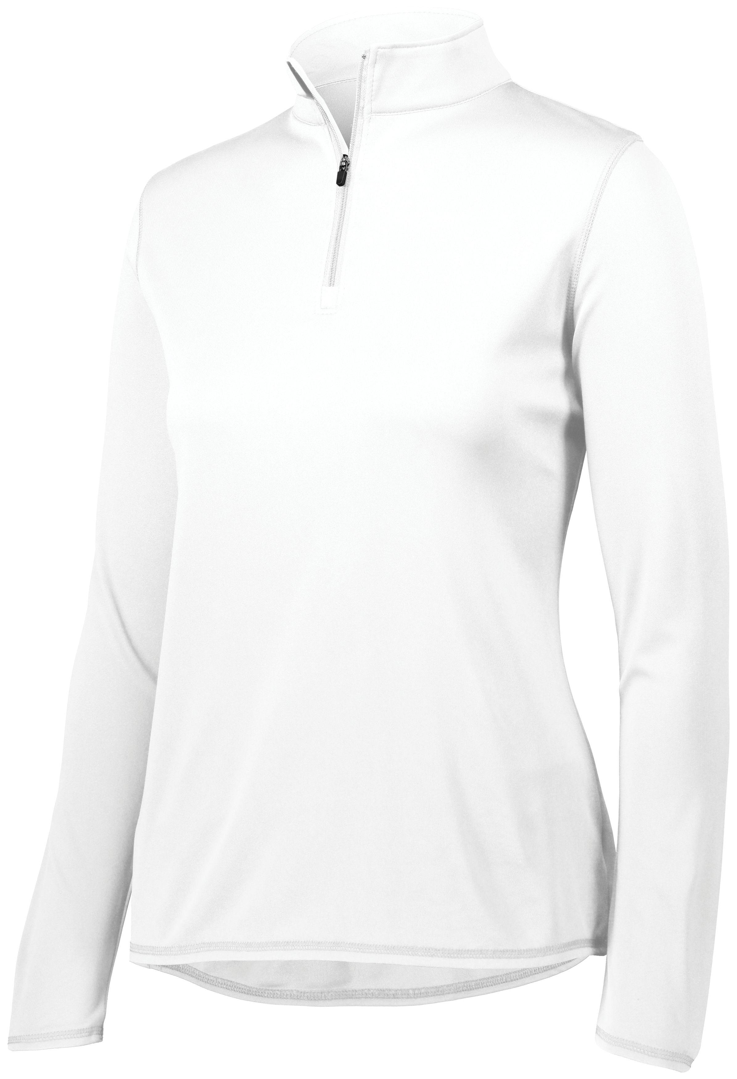Ladies Attain Wicking 1/4 Zip Pullover - WHITE