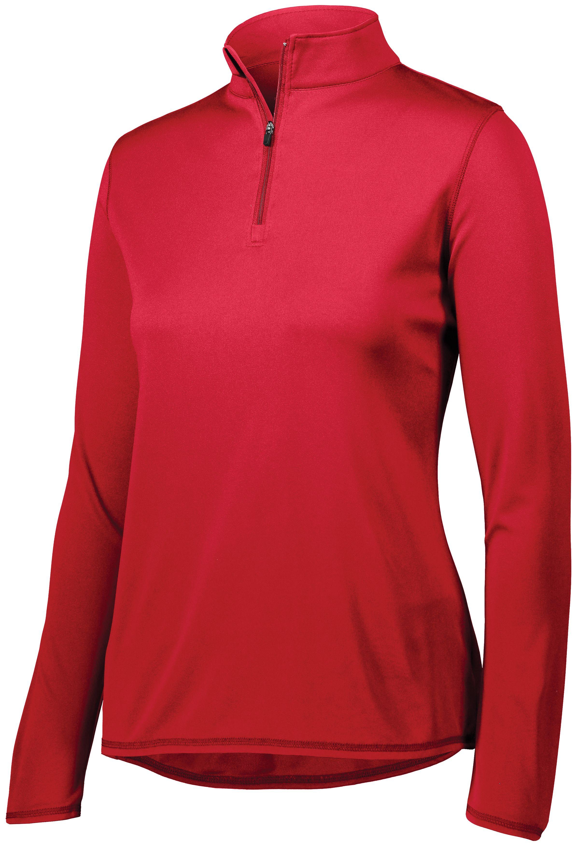 Ladies Attain Wicking 1/4 Zip Pullover - RED