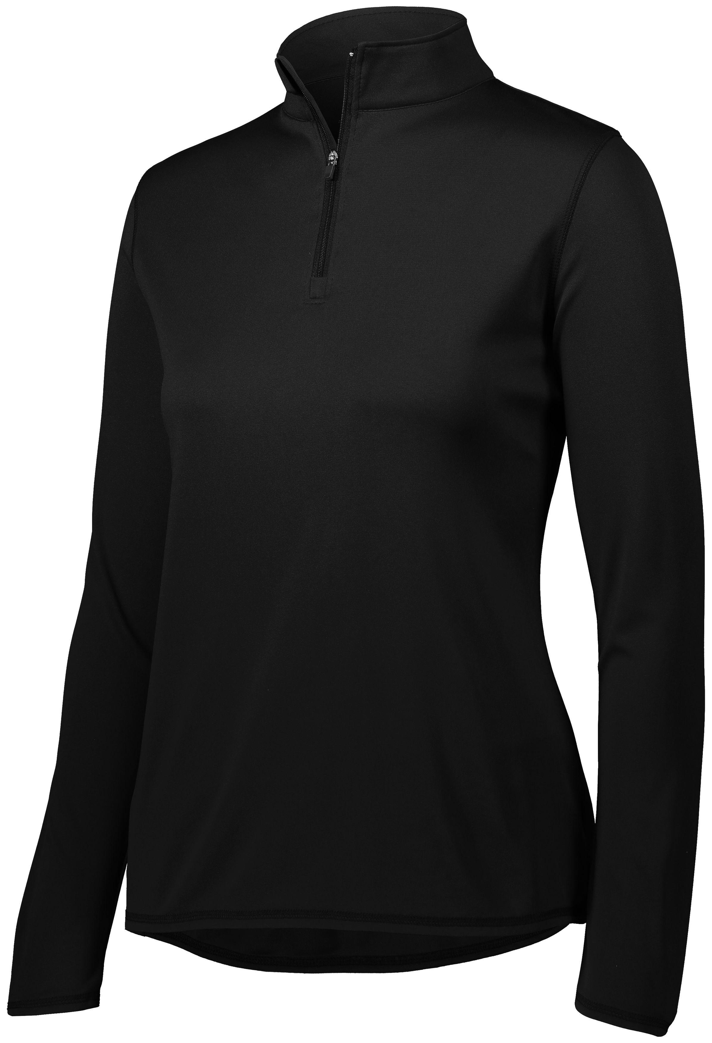 Ladies Attain Wicking 1/4 Zip Pullover - BLACK