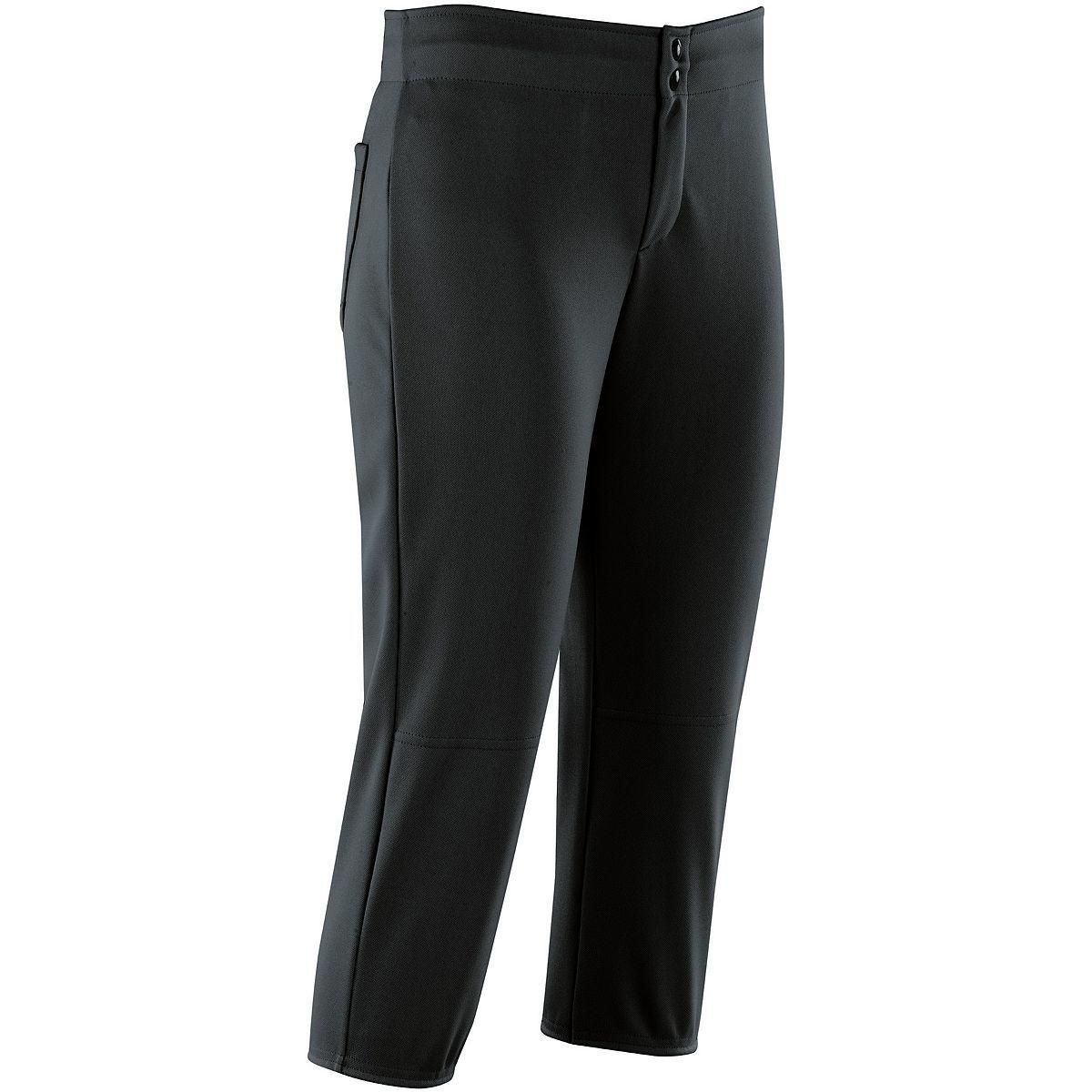 Ladies Unbelted Softball Pant - BLACK