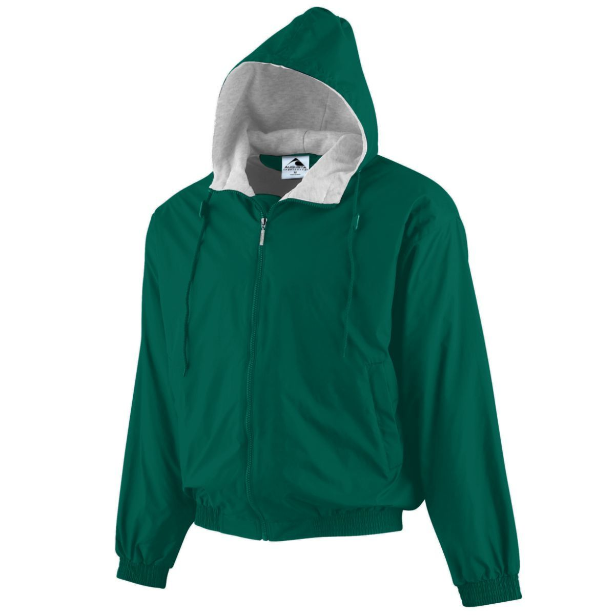 Hooded Taffeta Jacket/Fleece Lined - DARK GREEN