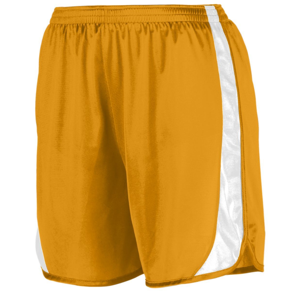 Youth Wicking Track Shorts With Side Insert - GOLD/WHITE