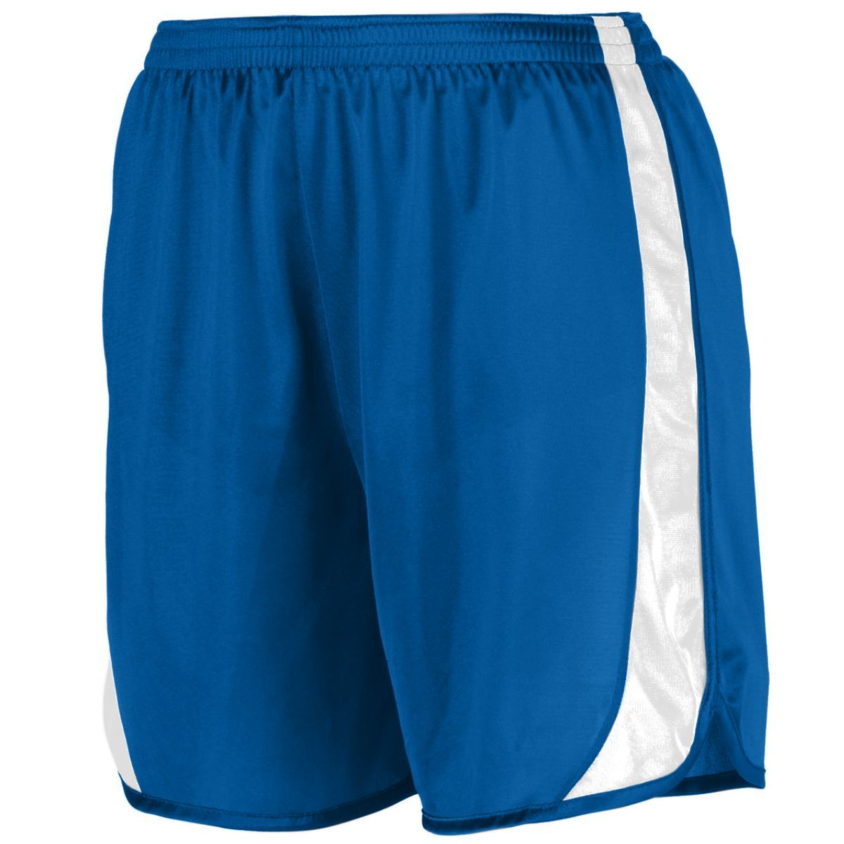 Youth Wicking Track Shorts With Side Insert - ROYAL/WHITE