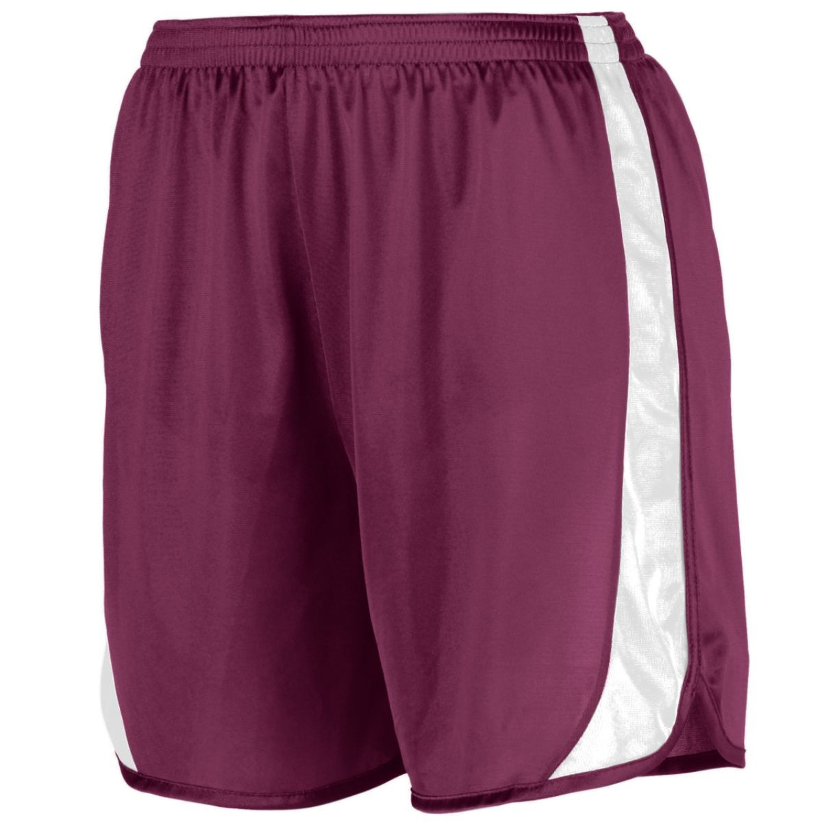 Youth Wicking Track Shorts With Side Insert - MAROON/WHITE