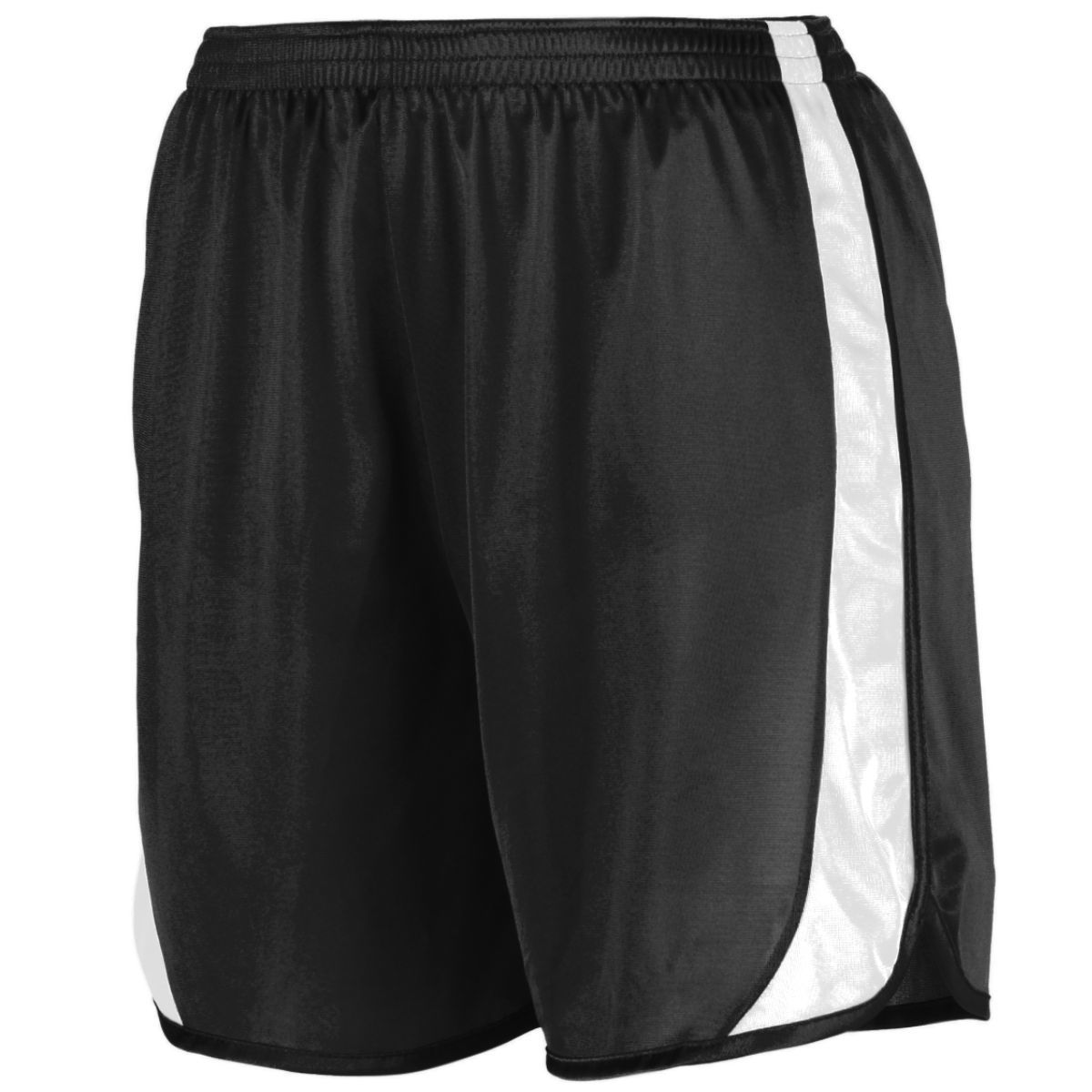Youth Wicking Track Shorts With Side Insert - BLACK/WHITE