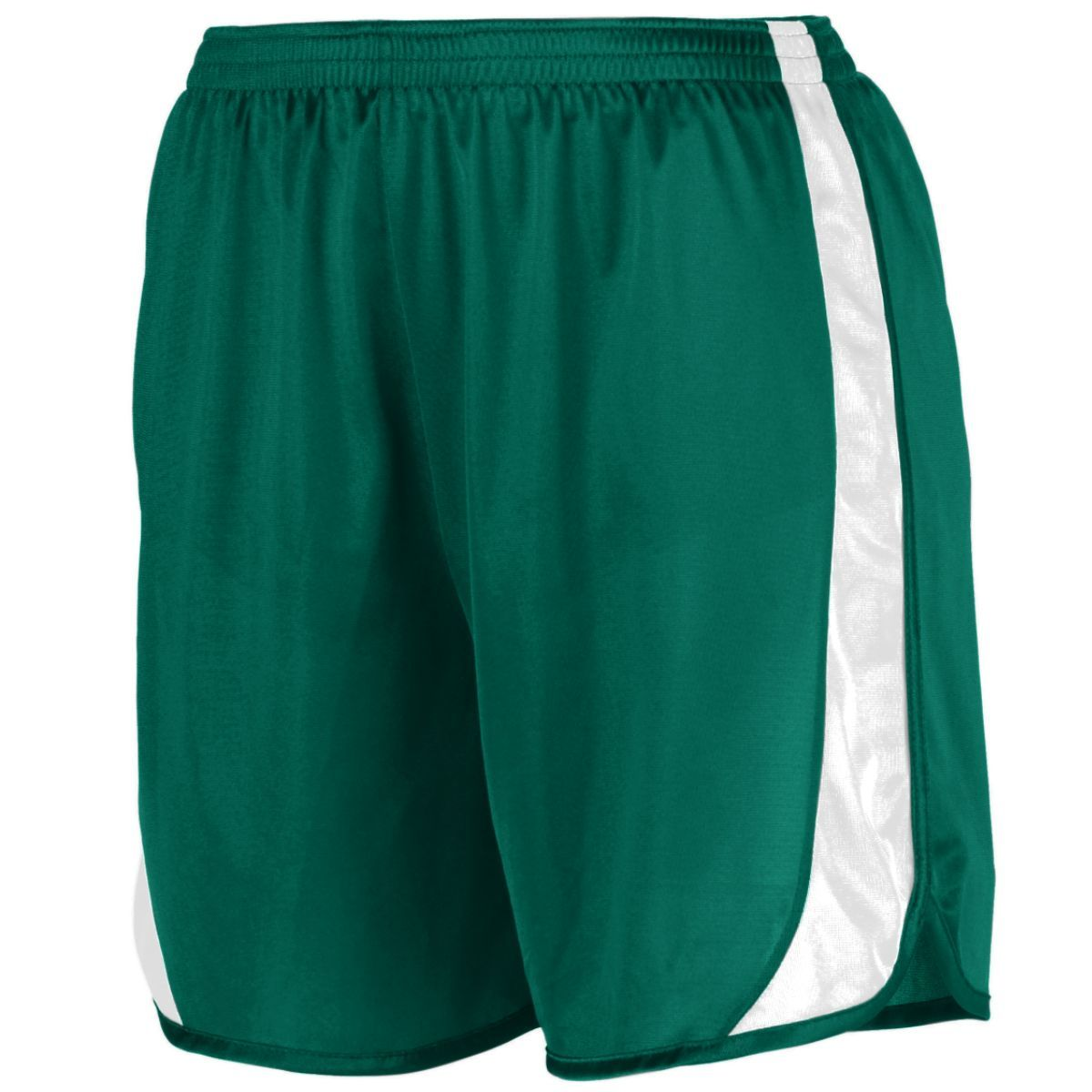 Youth Wicking Track Shorts With Side Insert - DARK GREEN/WHITE