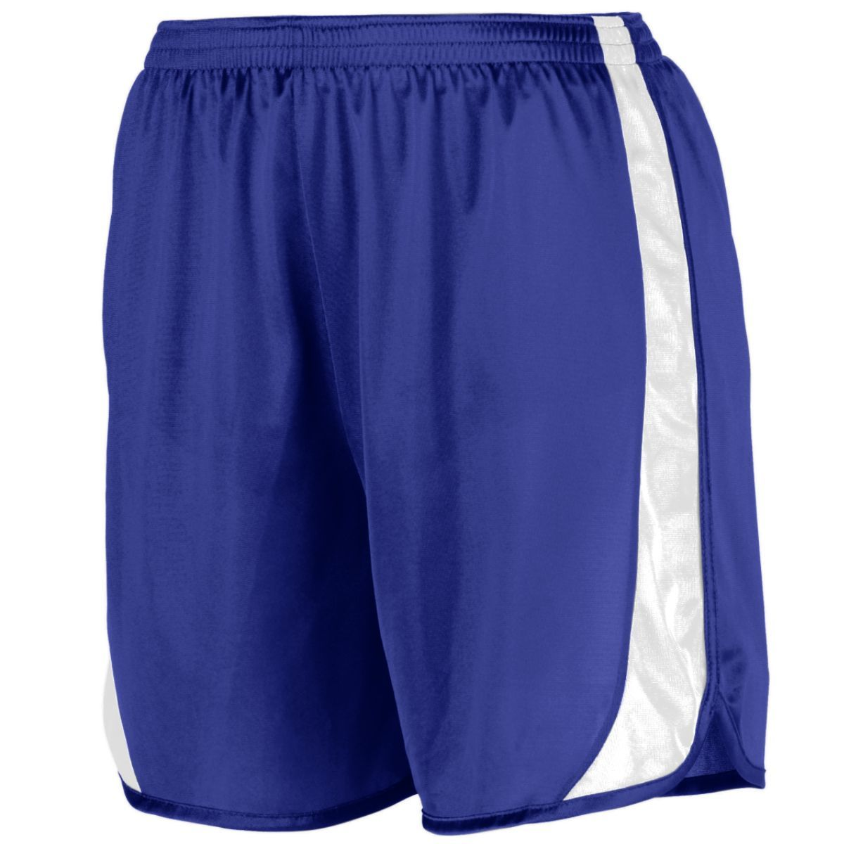 Youth Wicking Track Shorts With Side Insert - PURPLE/WHITE