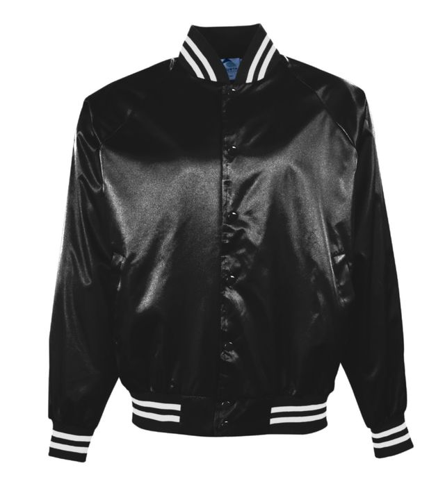Satin Baseball Jacket/Striped Trim