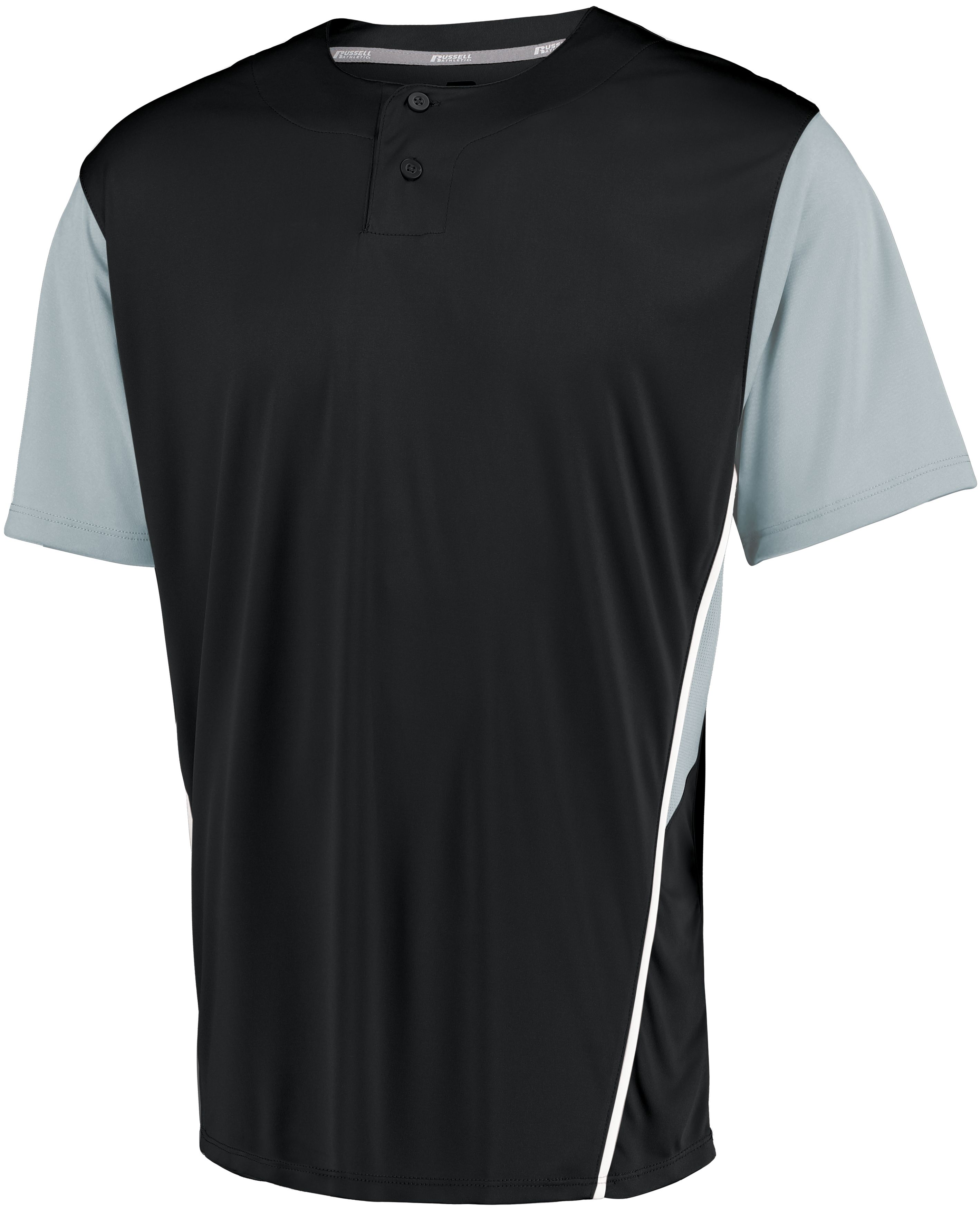 Youth Two-Button Placket Jersey - Black/baseball Grey