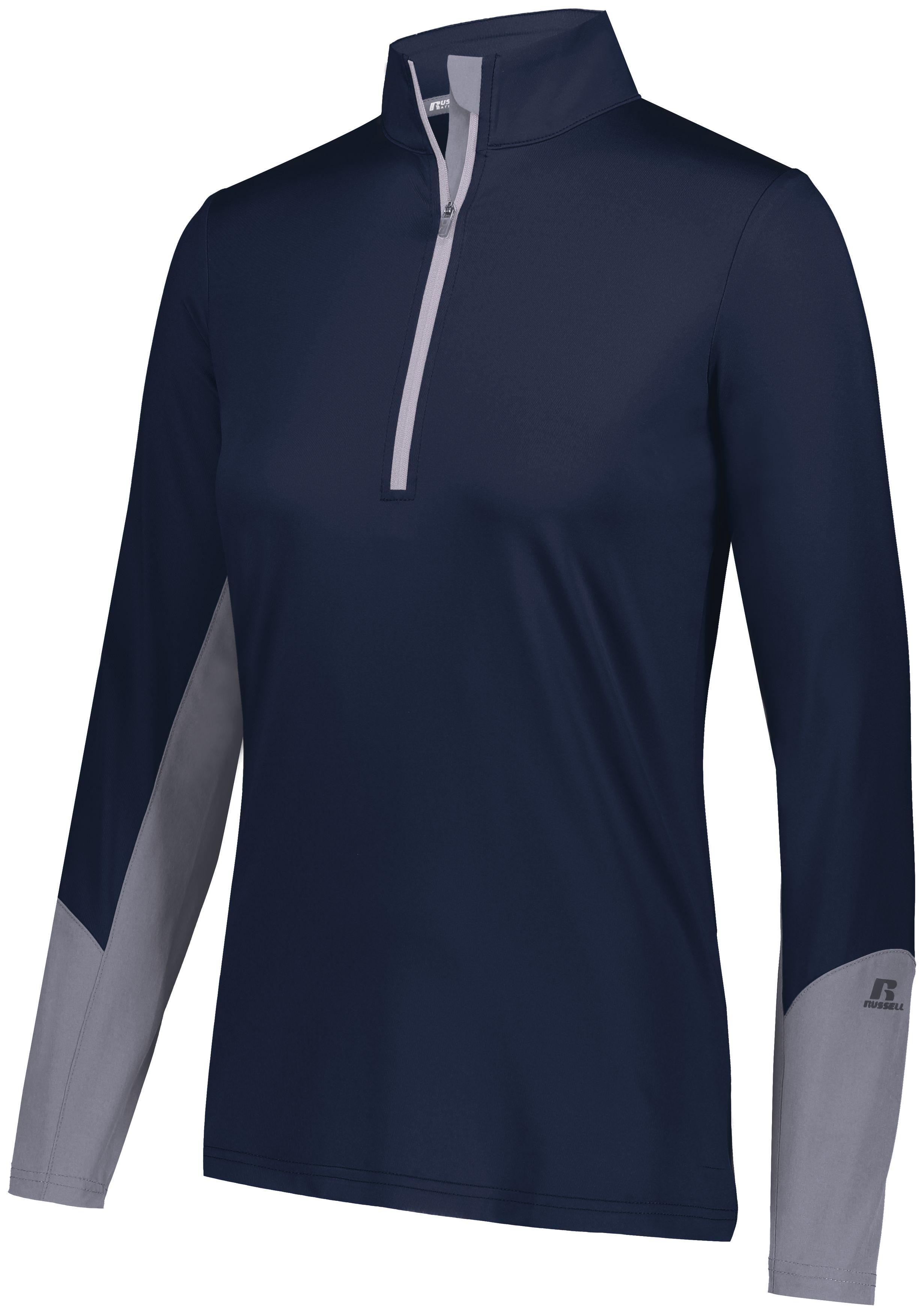 Ladies Hybrid Pullover - Navy/steel