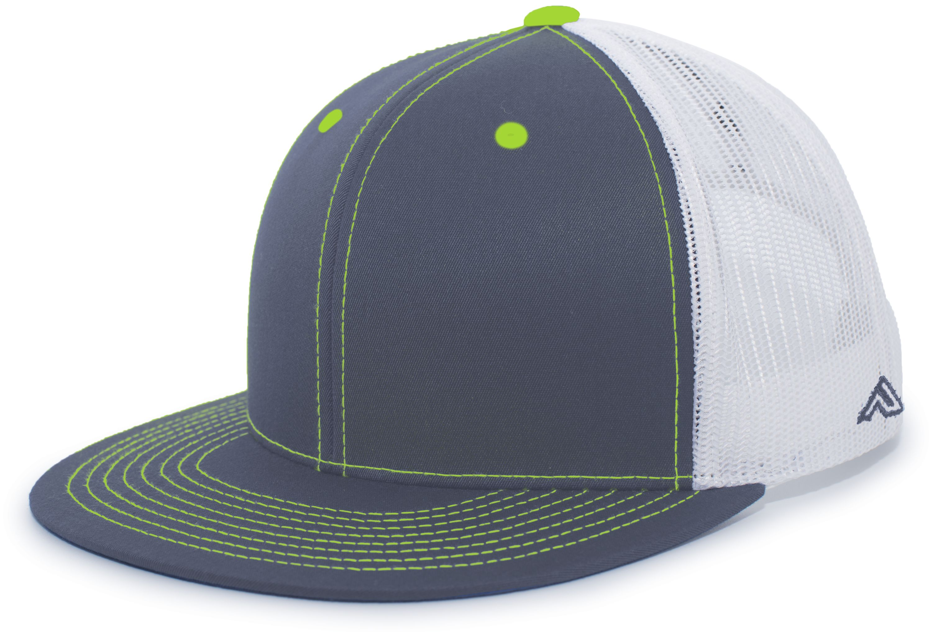 D-Series Trucker Snapback Cap - GRAPHITE/WHITE/NEON GREEN