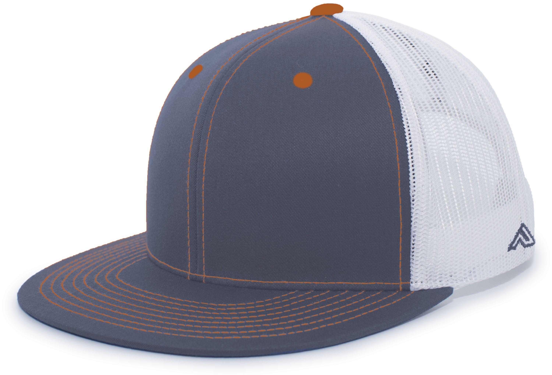 D-Series Trucker Snapback Cap - GRAPHITE/WHITE/NEON ORANGE