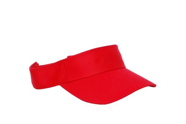 Cotton Woven Hook-And-Loop Adjustable Visor - RED