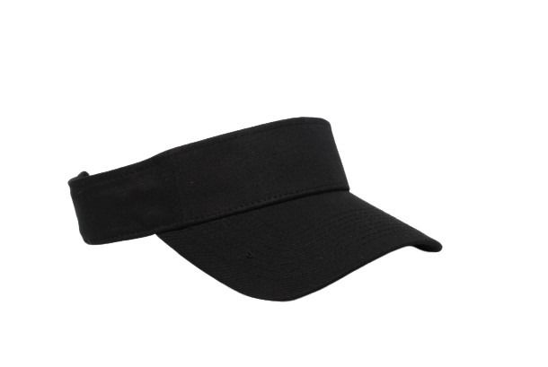 Cotton Woven Hook-And-Loop Adjustable Visor - BLACK