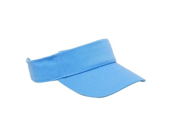 Cotton Woven Hook-And-Loop Adjustable Visor - COLUMBIA BLUE