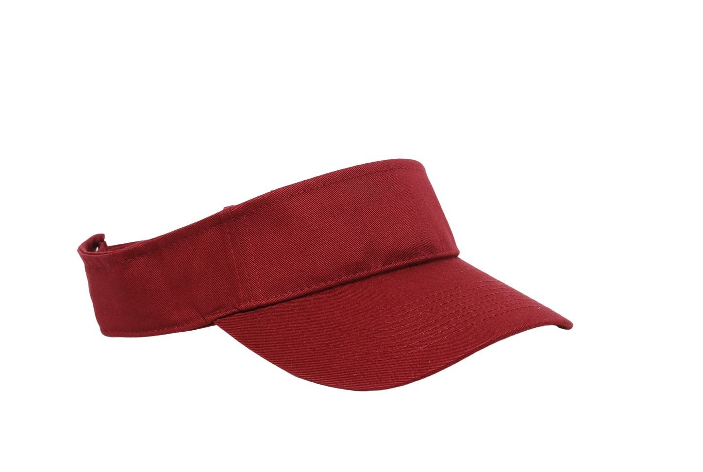 Cotton Woven Hook-And-Loop Adjustable Visor - CARDINAL