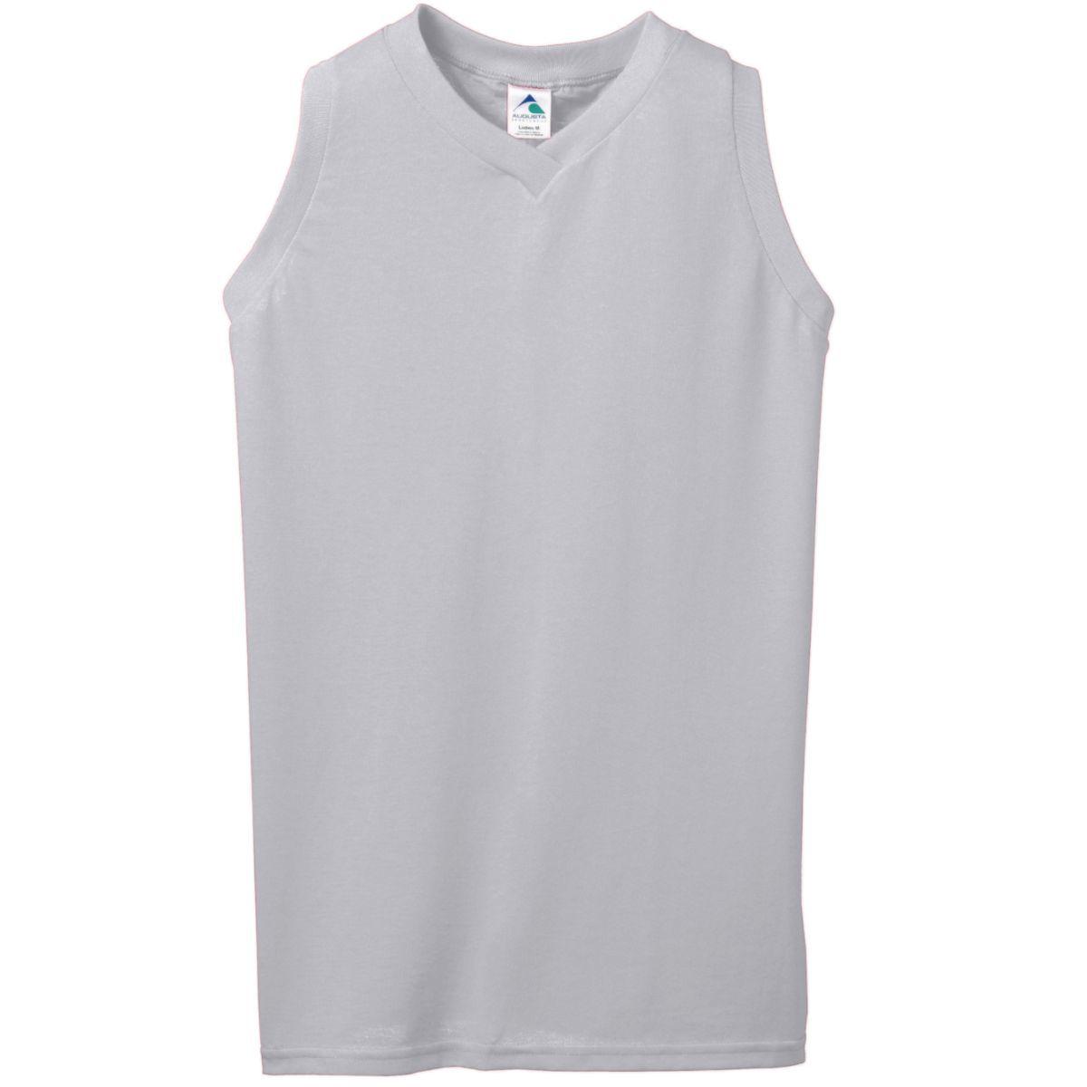 Ladies Sleeveless V-Neck Poly/Cotton Jersey - ATHLETIC HEATHER