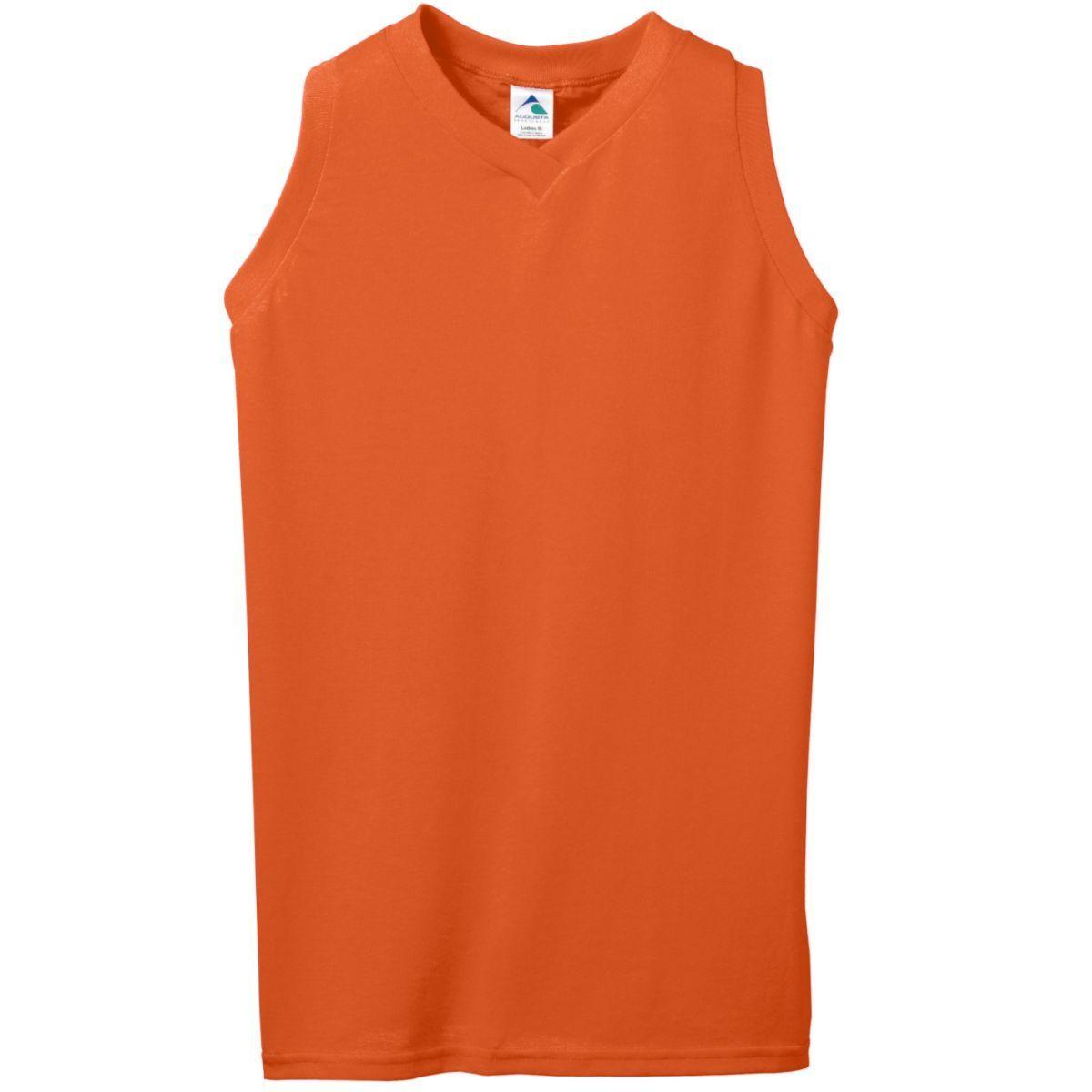 Ladies Sleeveless V-Neck Poly/Cotton Jersey - ORANGE