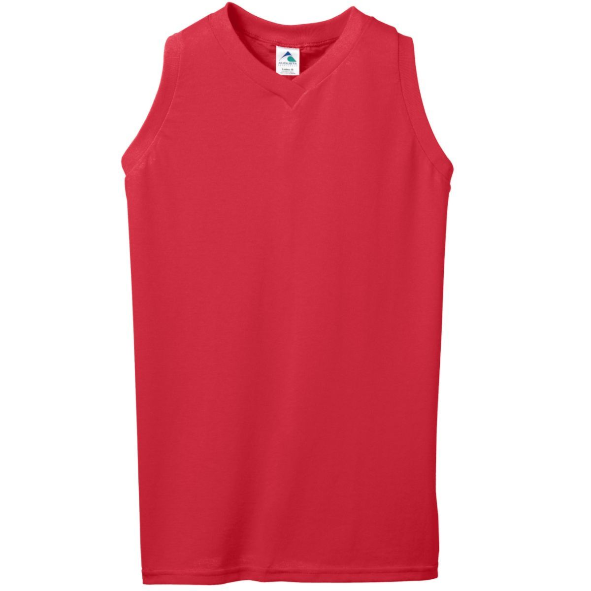 Ladies Sleeveless V-Neck Poly/Cotton Jersey - RED